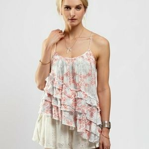 Free People | Assymetrical Ruffle Floral Tank